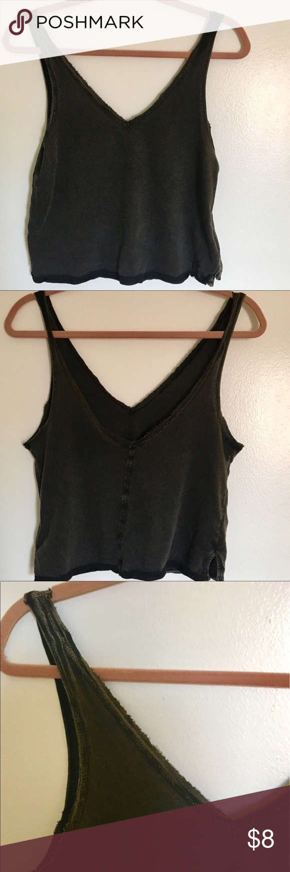 Charcoal BDG crop tank - XS 100% cotton. Slightly acid washed around the edges and never worn! BDG Tops Crop Tops