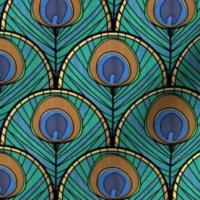 Glitzy Peacock Art Deco Fan Pattern