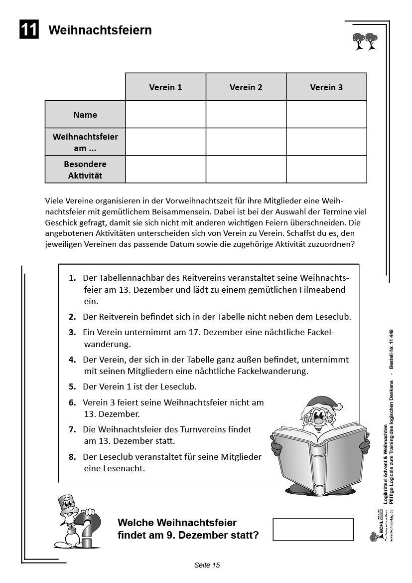 Kohl-Verlag - Logikrätsel Advent & Weihnachten | Bilmece-Bulmaca ...