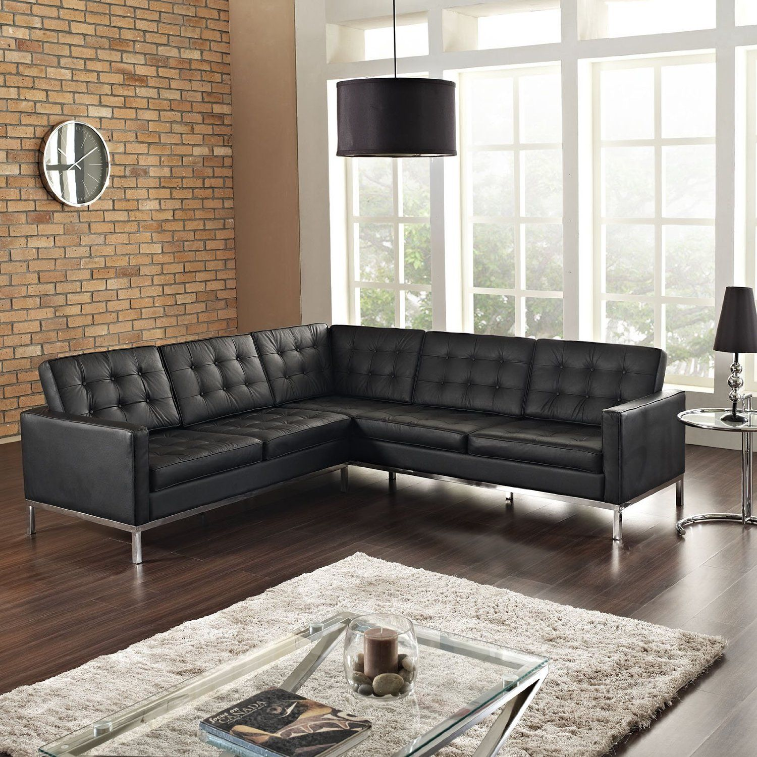 Pretty Black Semi Leather Sectional L Shaped Couch 2 Pieces With Stainless  Steel Polished Leg On
