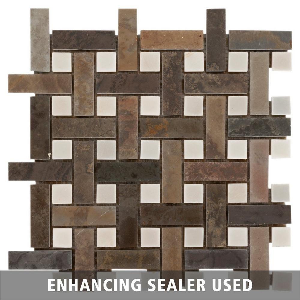 Decorative Slate Tiles Earth Basket Weave Decorative Slate Mosaic  Slate Mosaics And Earth