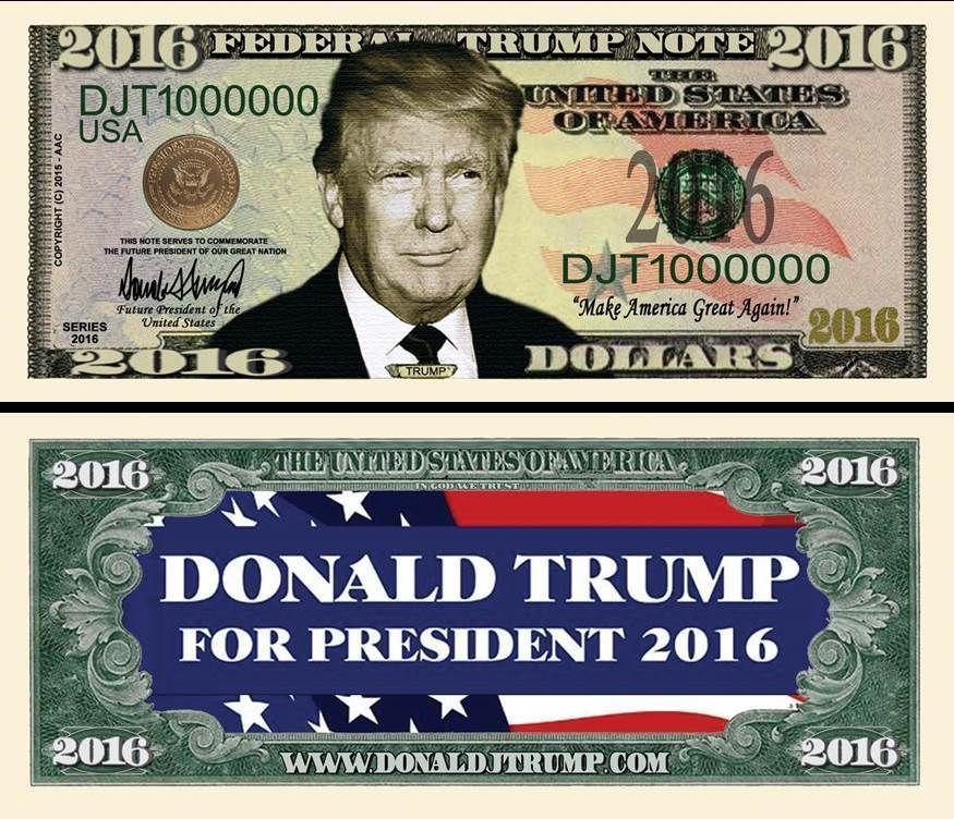 OUR DONALD TRUMP FOR PRESIDENT DOLLAR BILL (2 Bills) | eBay