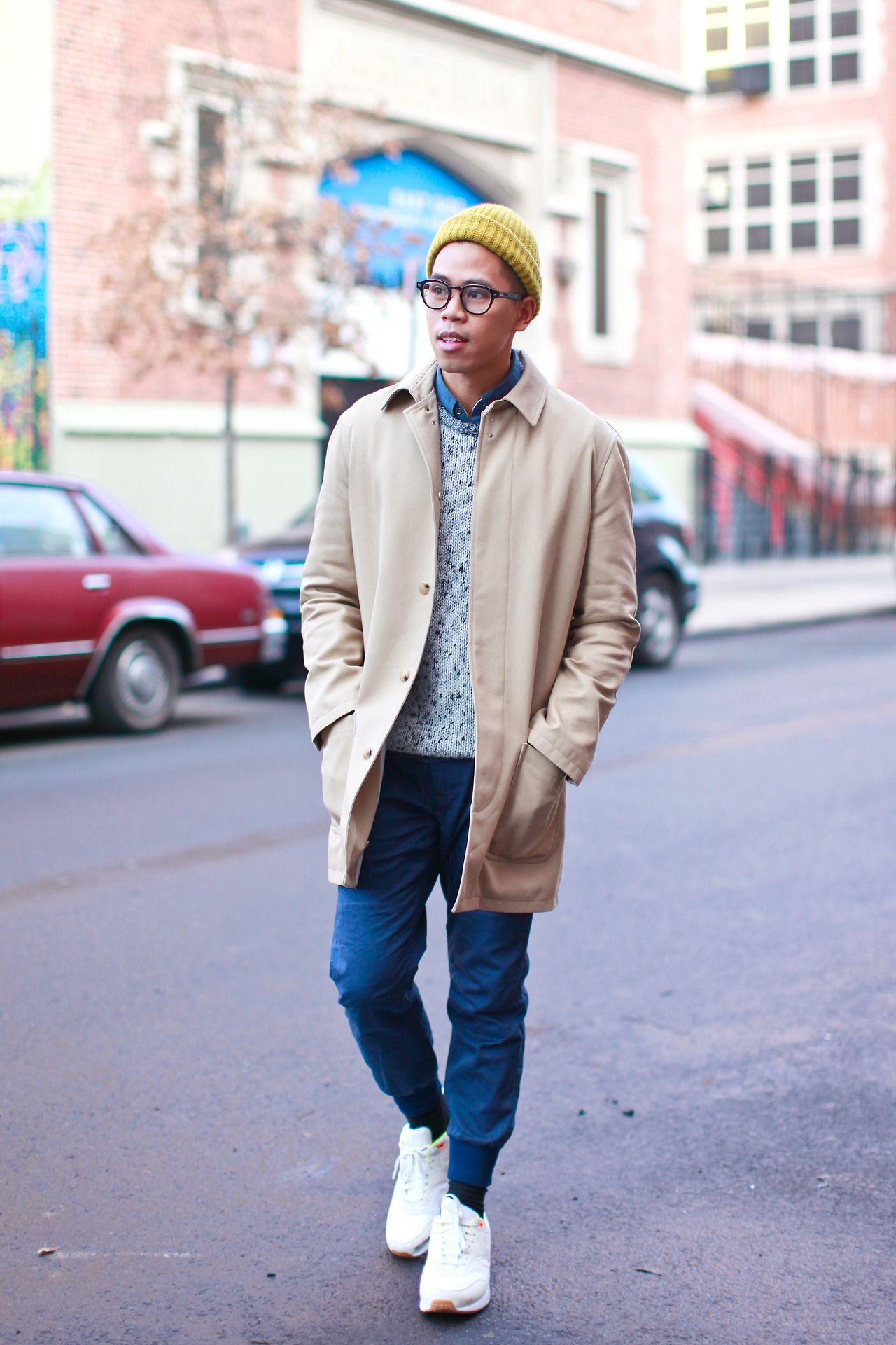 outfit: men's jogger pants trench coat and my underwear - see the