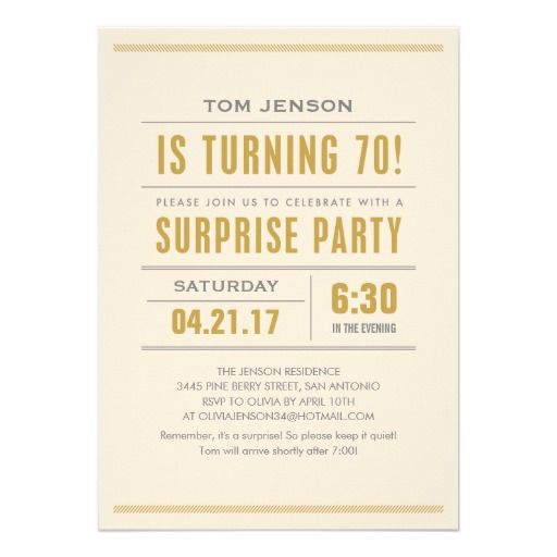 Nice Surprise 70th Birthday Party Invitations Download this