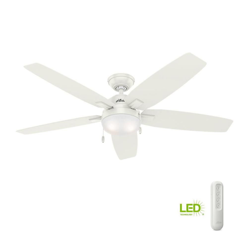 Hunter Antero 54 In Led Indoor Fresh White Ceiling Fan With Light