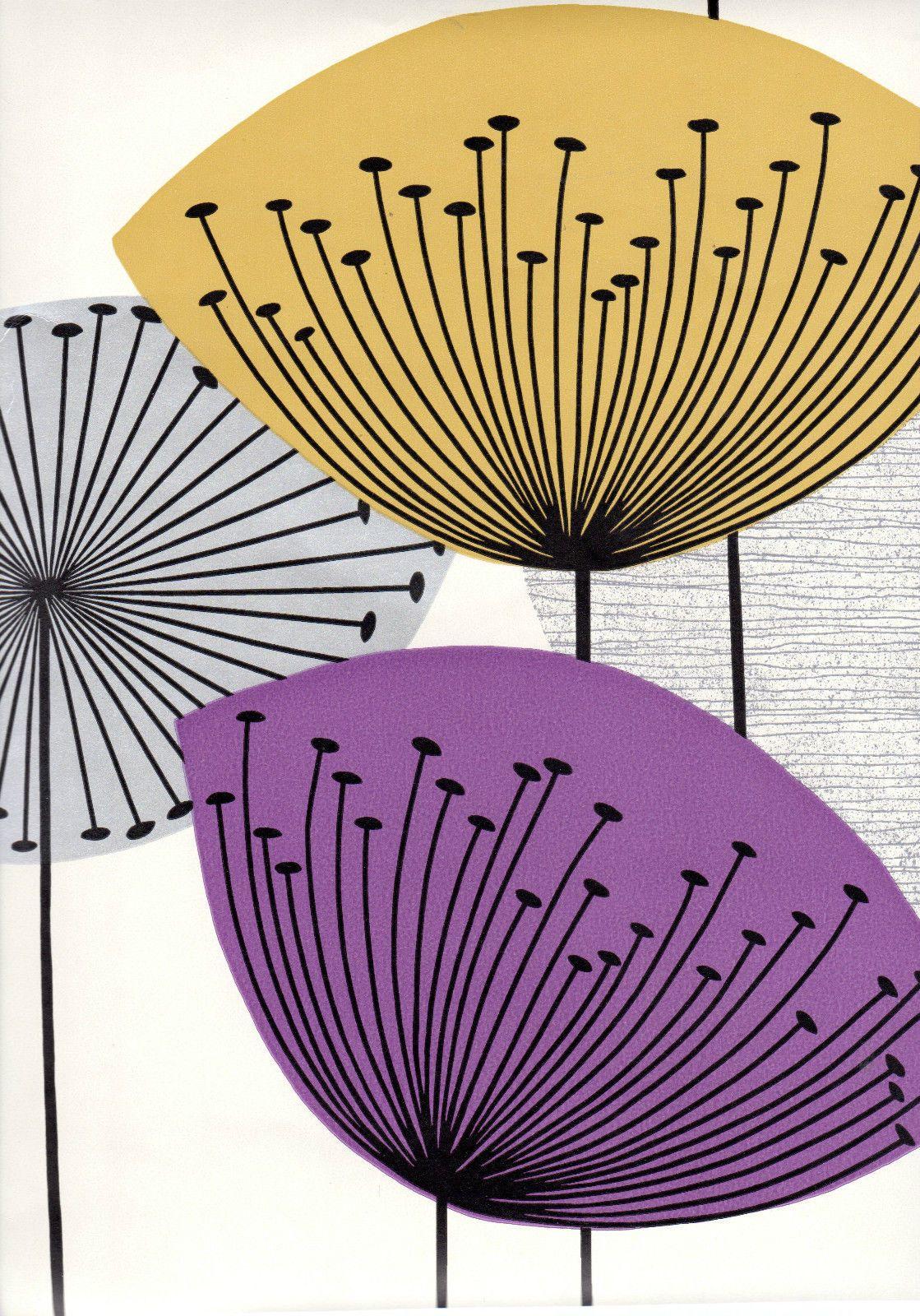 Sanderson Retro Mustard Purple Metallic Silver Dandelion Clock Wallpaper | eBay