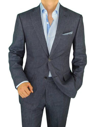 Bianco Brioni Made in Italy Men's Linen Modern Fit 2 Button Suit 8 Colors
