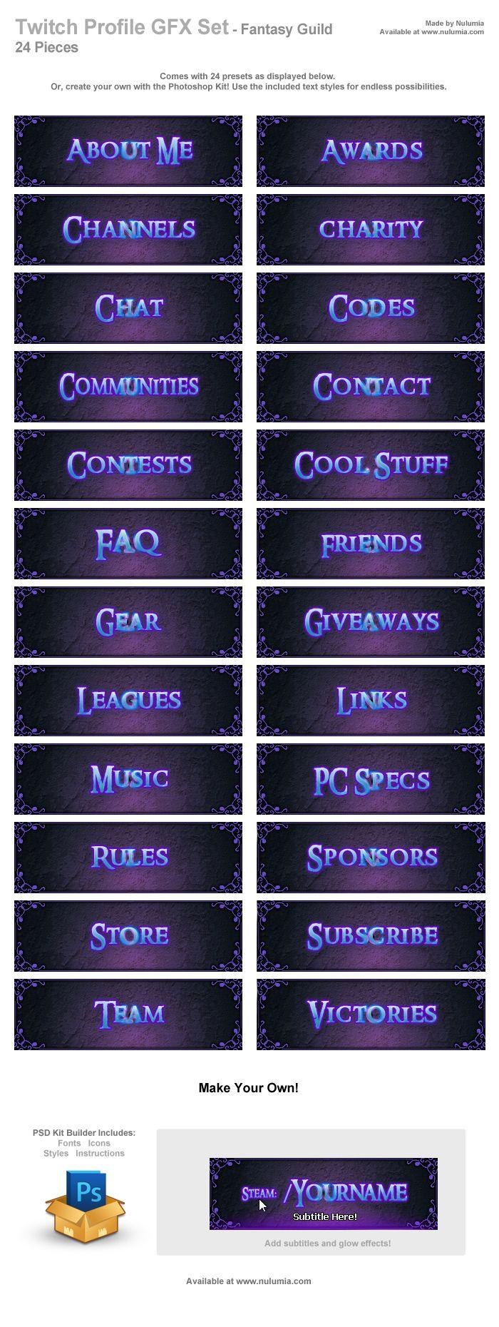 Free Fantasy Guild Twitch Profile Set in 2020 Profile