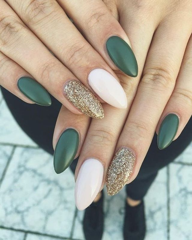 Mix And Match Green Emerald Gold Glitter And White Nails 22 Fall Nail Designs To Spice Up Your Look Nail Art Nails Green Nails Dark Color Nails Gel Nails