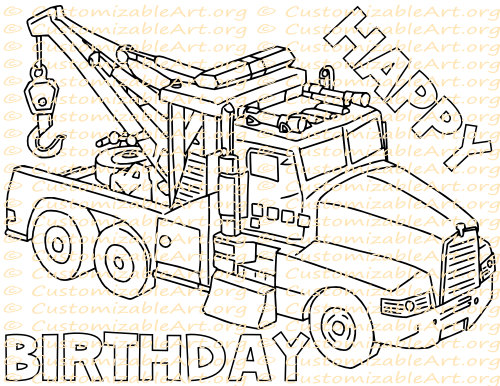 Tow Truck Party Favor Printable Birthday Printables Coloring Page Sheet Supplies Crane Toy Digital PDF