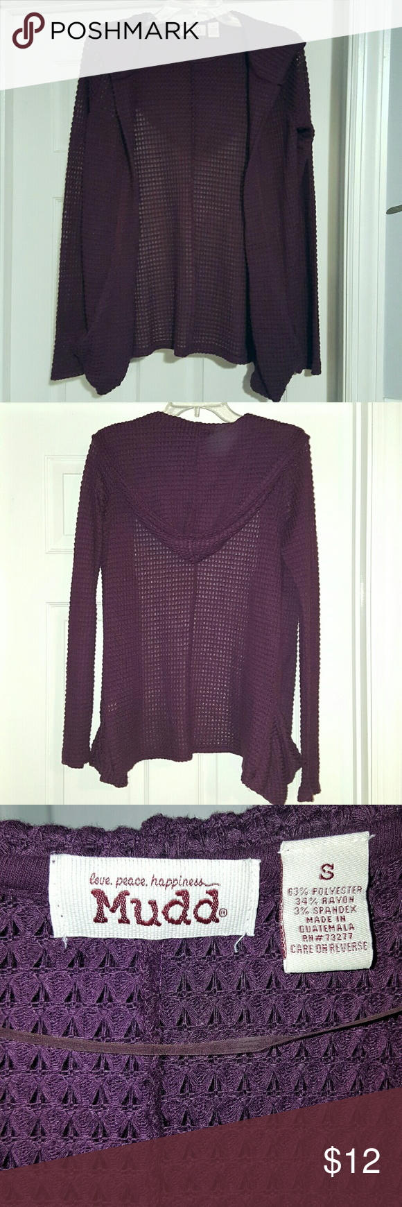 MUDD Waffle Hooded Cardigan Beautiful Eggplant Color.  Without tags but never worn.  Mint condition! Mudd Sweaters Cardigans