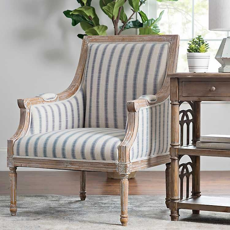 Product Details McKenna Blue Striped Accent Chair | home in ...