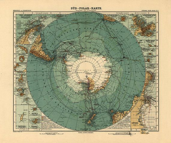 Map of southern hemisphere debes 1869 shows routes of marine map of southern hemisphere debes 1869 shows routes of marine exploration vintage reprint gumiabroncs