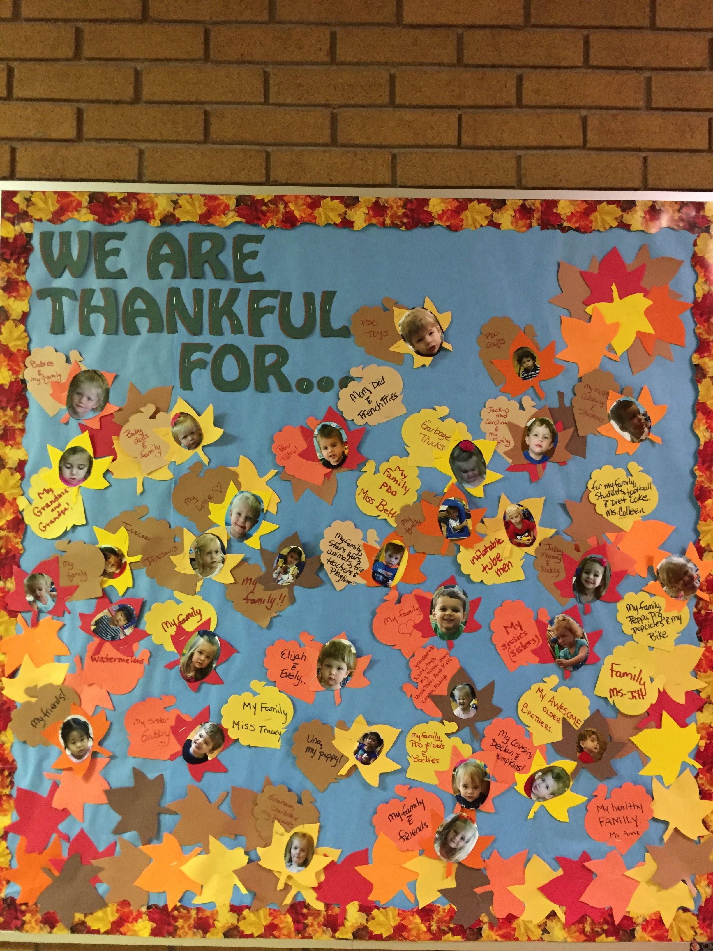 November Bulletin Board We Are Thankful Amp Each Child S