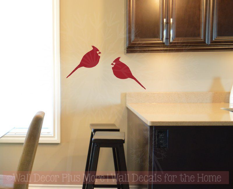 Cardinal Set Of 2 Bird Wall Decals Vinyl Art Christmas Home Decor Bird Wall Decals Vinyl Wall Decals Wall Decals