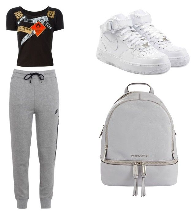 Traveling Around by champayne-wheeler on Polyvore featuring polyvore fashion style Kokon To Zai NIKE MICHAEL Michael Kors clothing