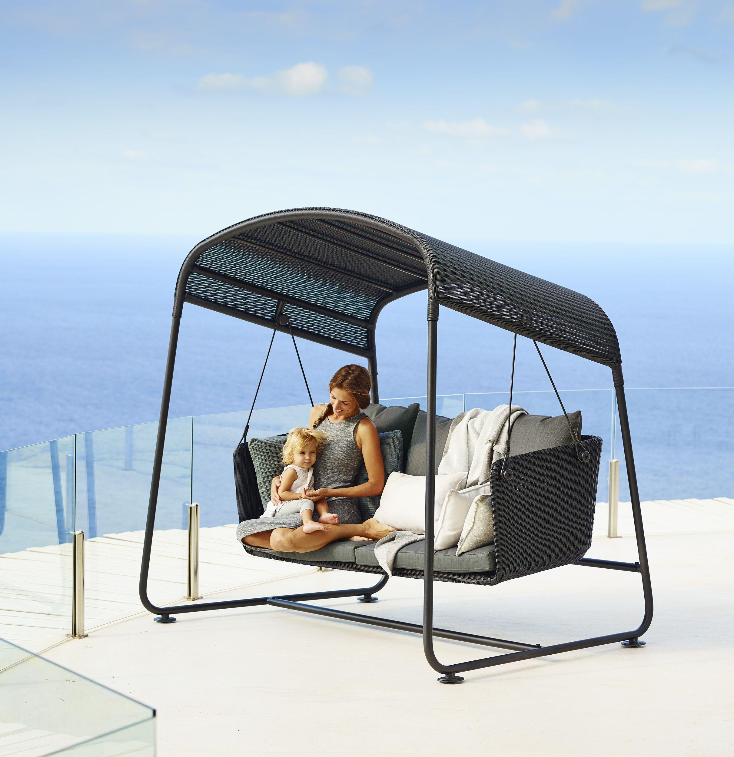 Cave Swing Sofa, grey Cane-line weave with Sunbrella Natté cushions ...