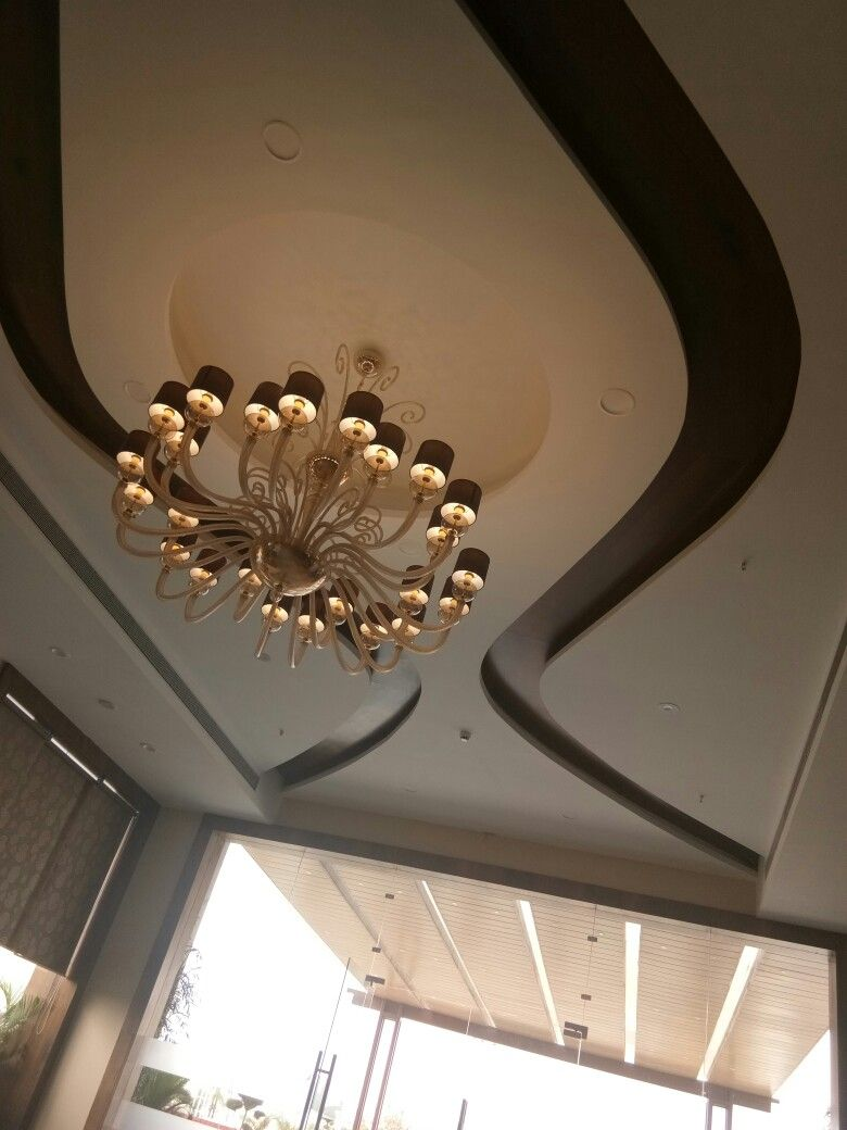 False ceiling with beautiful shandilier   Gypsum ceiling ...