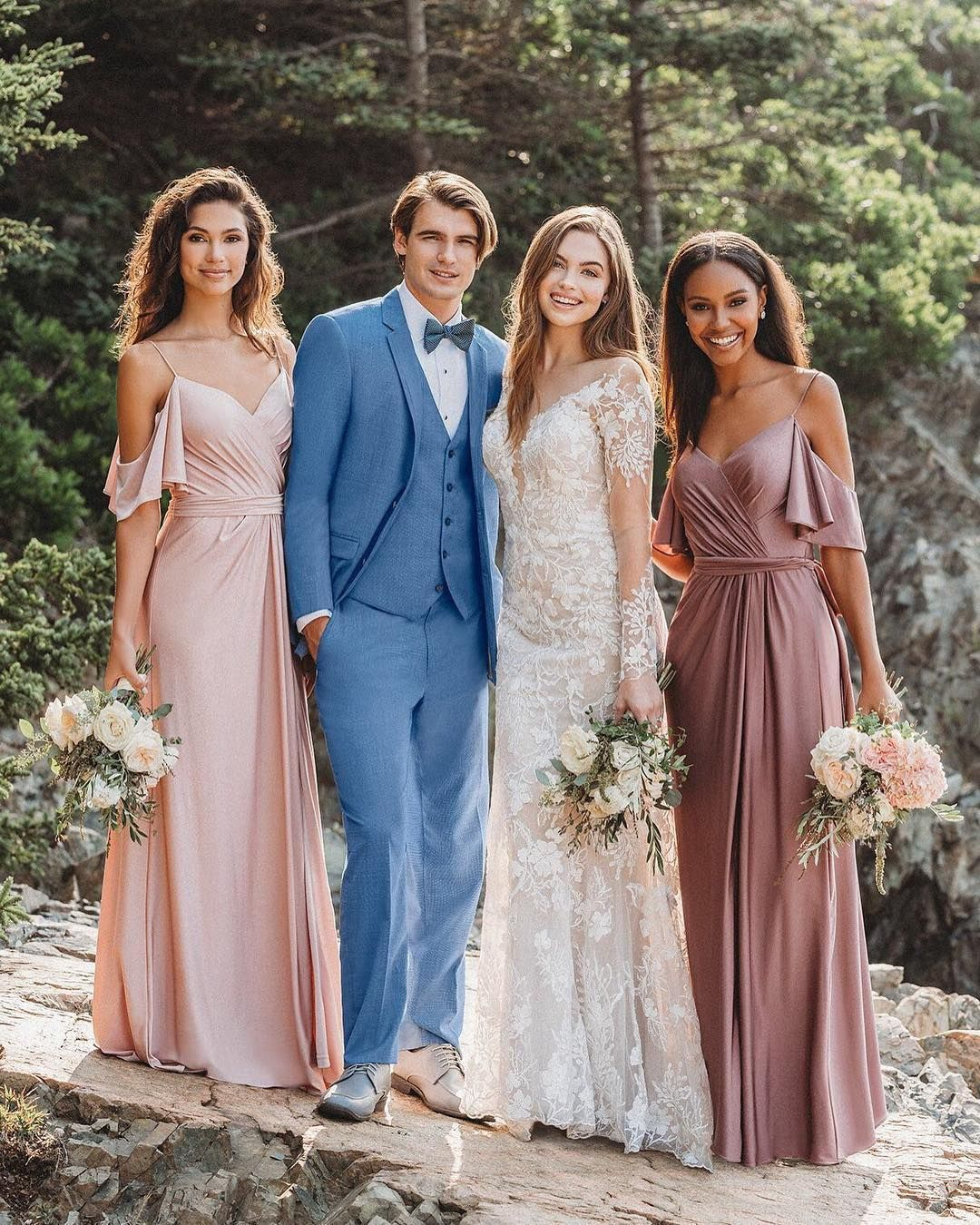 Allure Bridals On Instagram Mix And Match Your Bridesmaids Gowns We Styled The Allure Allure Bridesmaid Dresses Wedding Dress Couture Elegant Wedding Dress