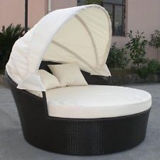 Dominica Outdoor Wicker Patio Furniture Canopy Day Bed Circular Lounge    BLK/IVY