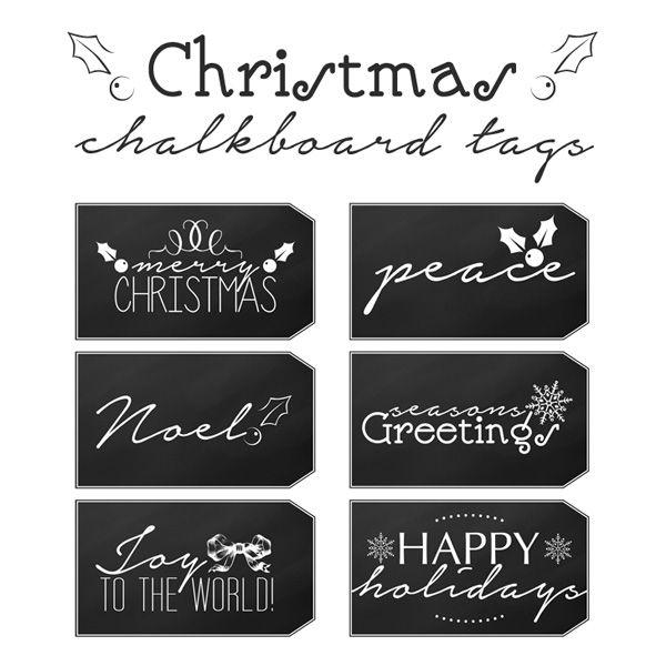 Printable Snowflakes Chalkboard Rustic Wood Black Christmas Printable Tags