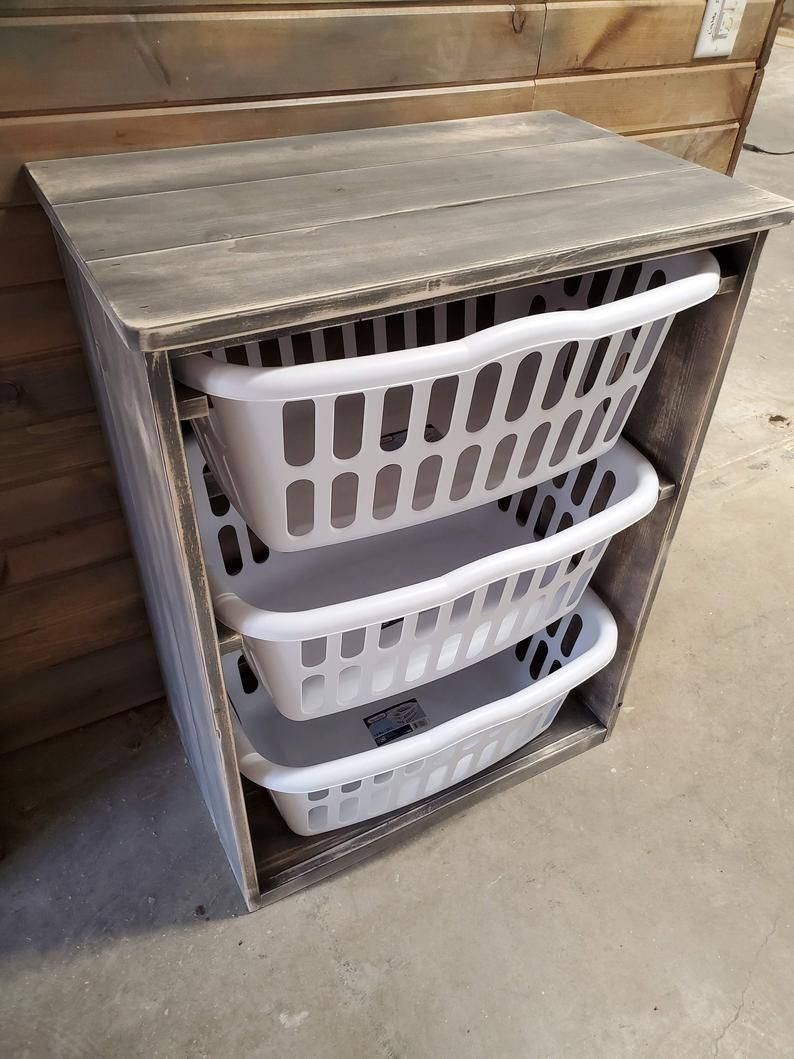 Gray Distressed Laundry Basket Holder My Absolute Favorite Etsy In 2020 Laundry Basket Holder Laundry Basket Wooden Laundry Basket