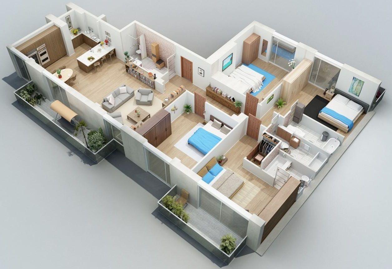 Planos De Casas De Un Piso 4 Dormitorios 3 Banos En 2020 Diseno De Casa Planos Planos De Casas 3d Distribucion De Casas Pequenas