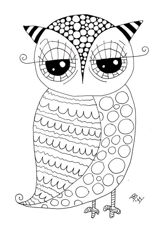 Free Owl - Coloring Page | Dibujos delineados | Pinterest | Lechuzas ...