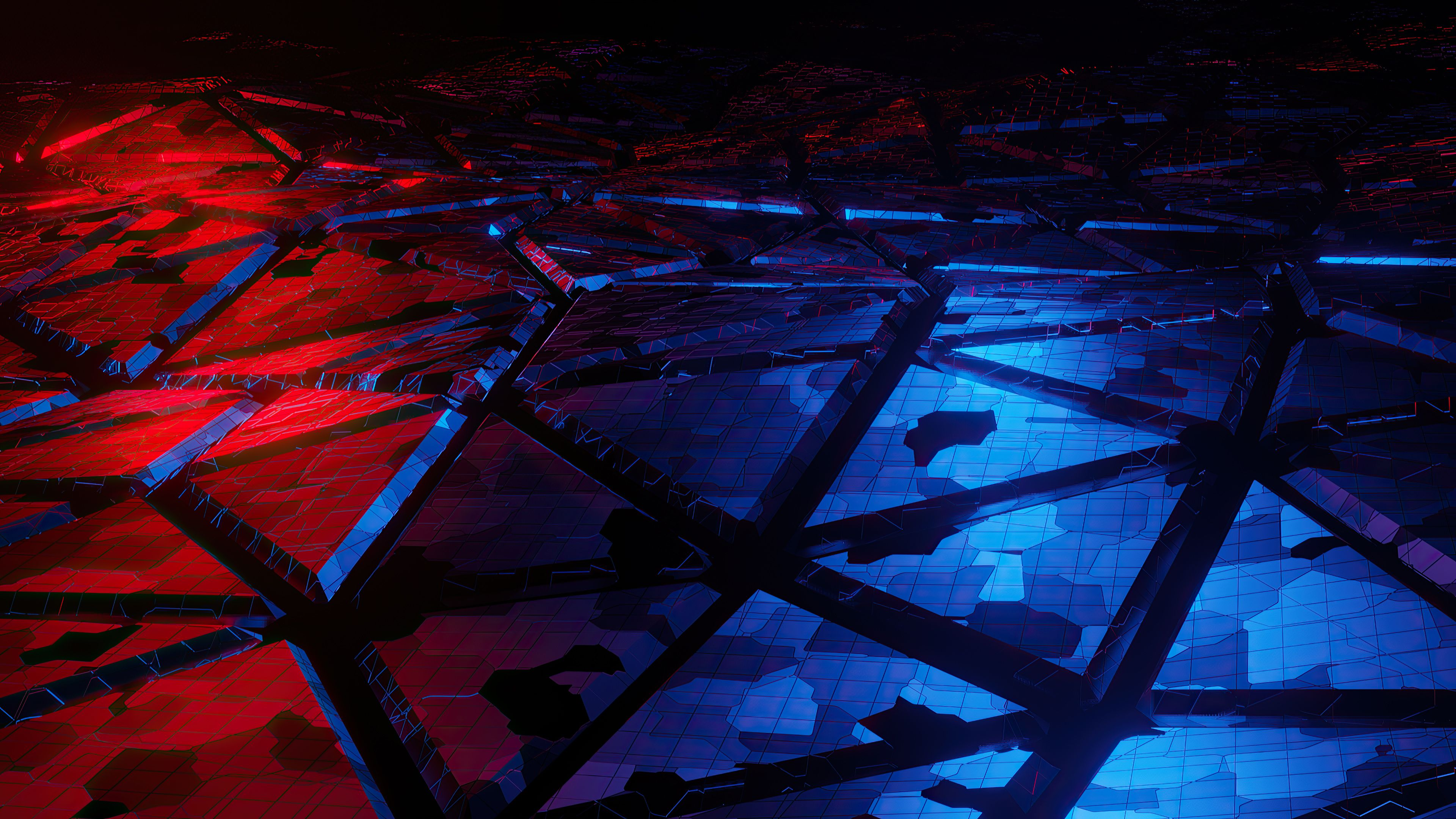 Red And Blue Broken Abstract Blue Abstract Abstract Active Wallpaper