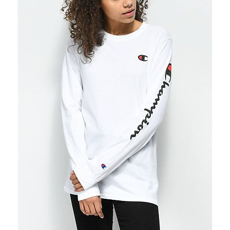f095cded8d8d Champion Script Logo Black Long Sleeve T-Shirt in 2019 | Fashiøn ...