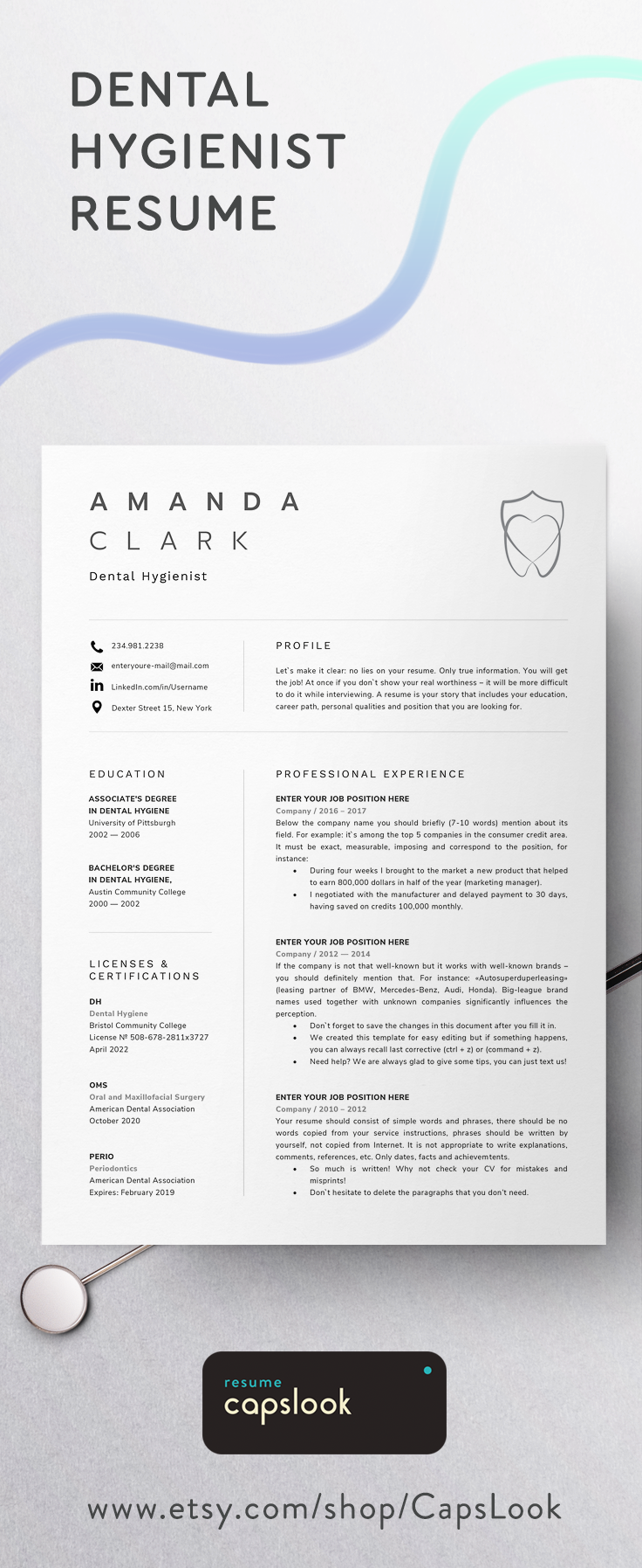 Dental Hygiene Resume Template Cv Examples For Microsoft Word Dentalschool Dentistry