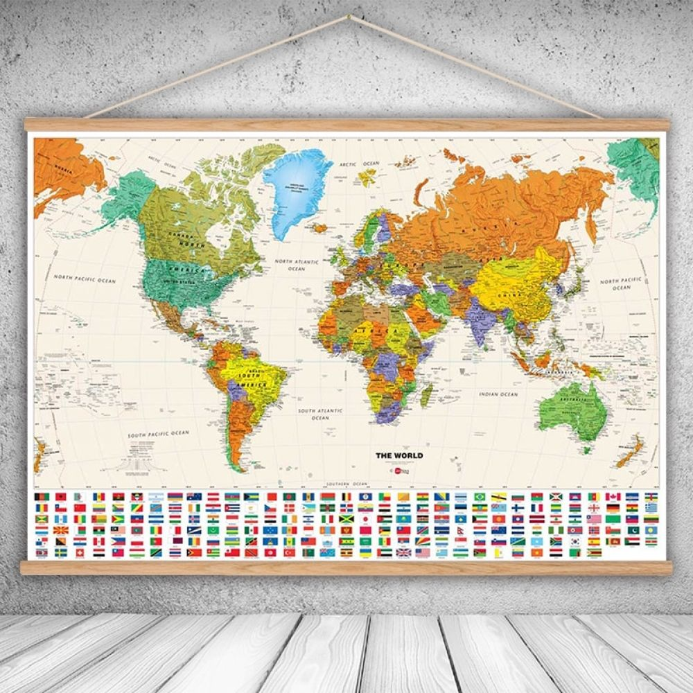 Canvas Oil Prints Painting National Geographic World Map Wall Art Sticker Print Pictures Living Room Wall Poster With Frame Poster Cities