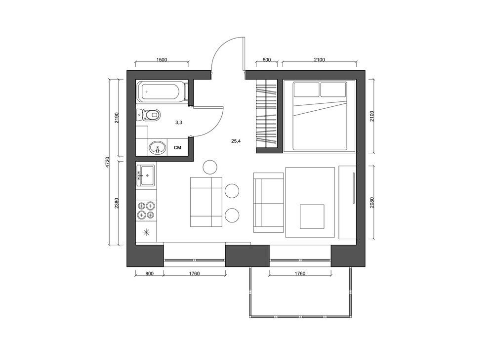 Small Apartment Desing Floor Plan 27m2