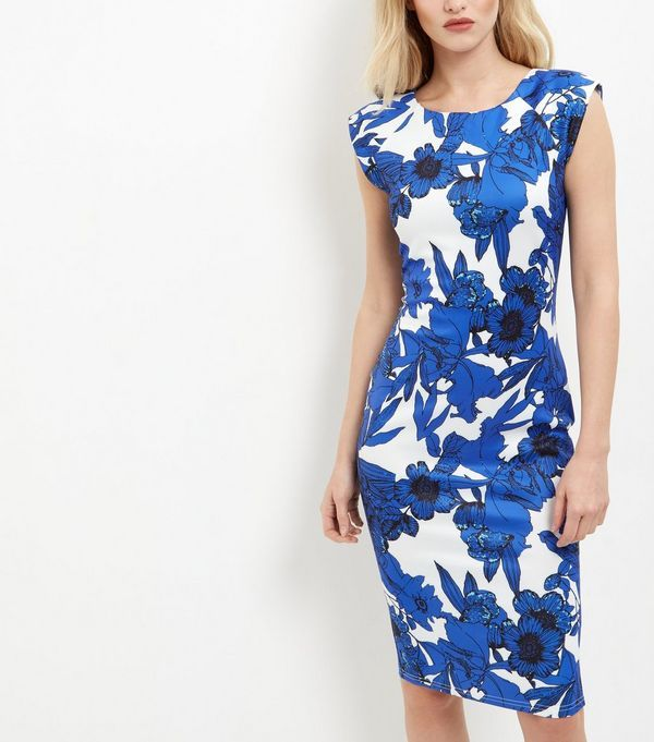 AX Paris Blue Floral Print Cap Sleeve Midi Dress   New Look