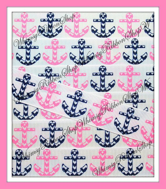 NEW 1, 3 or 5 yards 7/8 Nautical ANCHORS Pink Navy on Grosgrain Ribbon sailor hair bows headband sewing decor baby shower decor party sewing...