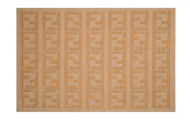 Home Collection Fendi Tappeto In Lana Beige Con Loghi A Rilievo Rugs On Carpet Fendi Casa Rugs