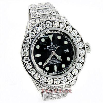 rolex sea dweller deepsea mens custom diamond watch 32 55ct rolex sea dweller deepsea mens custom diamond watch 32 55ct