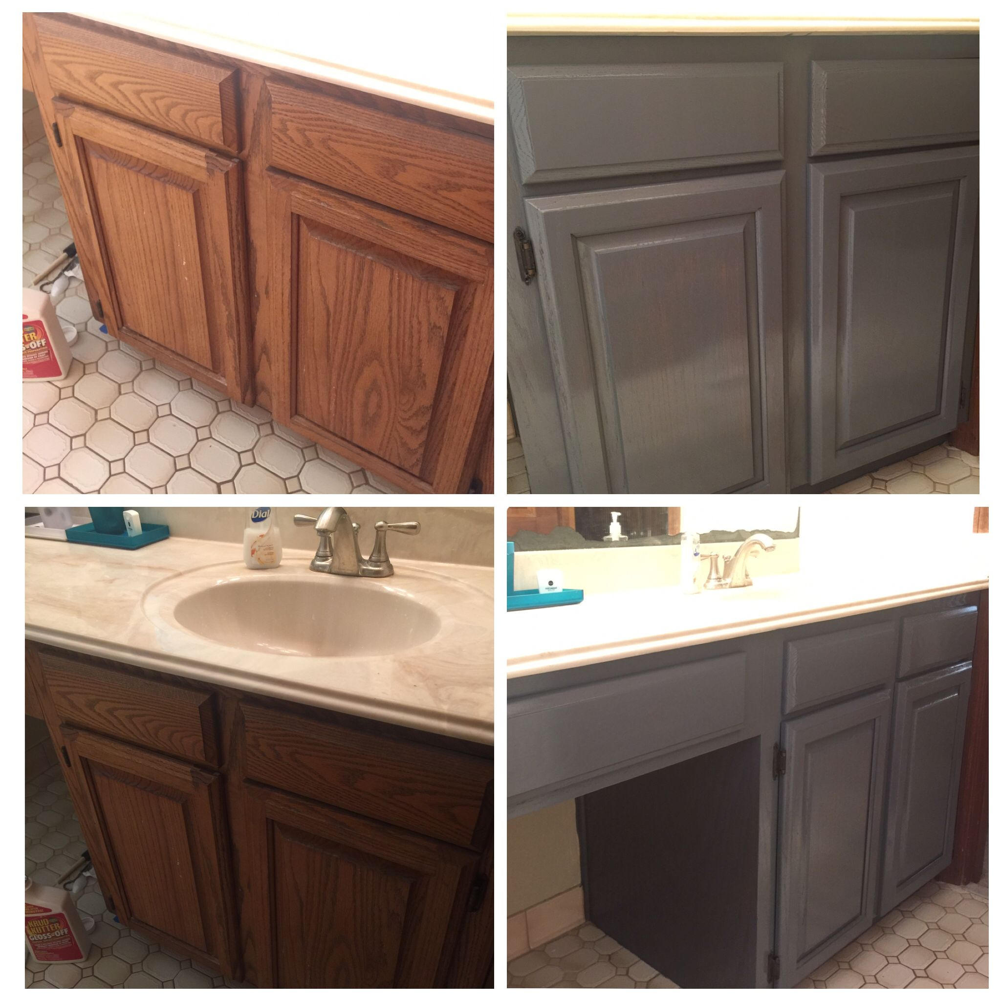 Tips Tricks For Painting Oak Cabinets: Before And After Using Varathane Weathered Grey Over 1987
