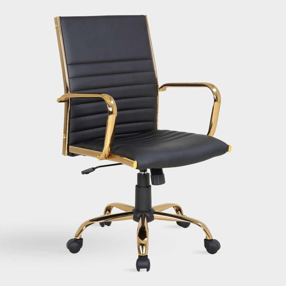 Black And Gold Channel Back Office Chair World Market Home Office Chairs Office Chair Modern Office Chair