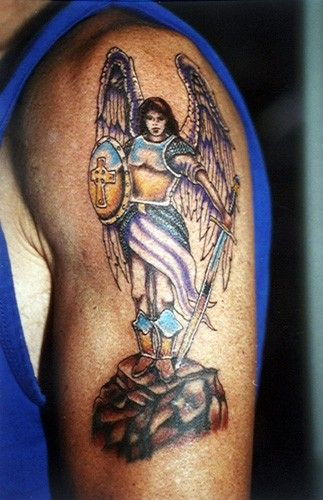 c6a70e2ab Warrior angel with sword and shield on stone colored forearm tattoo ...