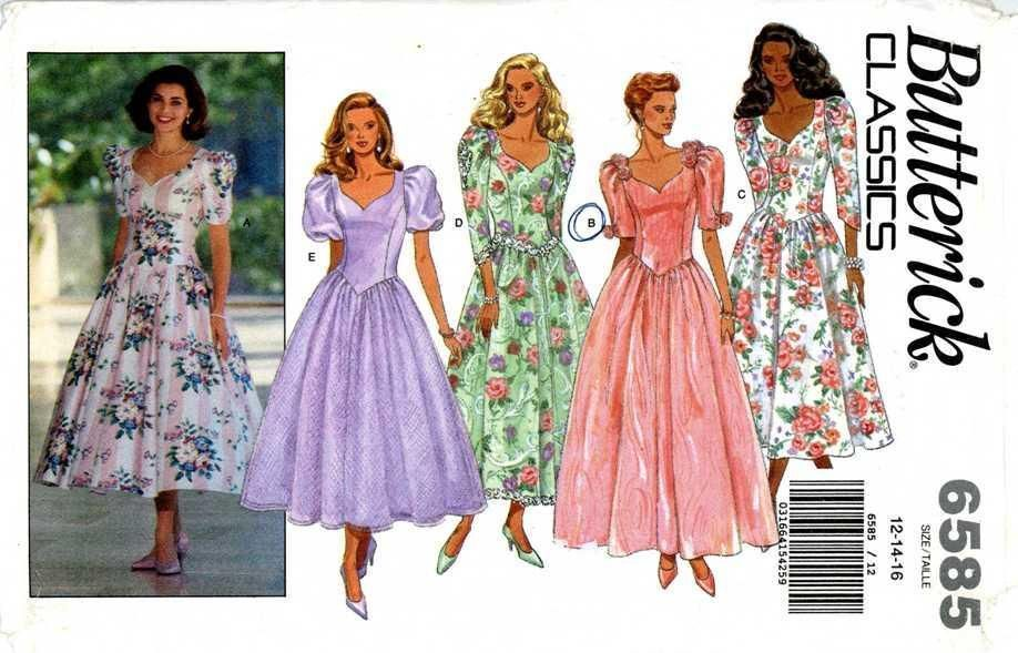 1990s PATTERN misses Dress princess seams tea length dropped waist bodice 12 16 #Butterick #princessseamdropwaistfittedbodice