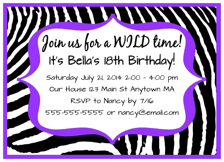 Dark purple zebra girl teen adult digital birthday party dark purple zebra girl teen adult digital birthday party invitations monicamarmolfo Image collections