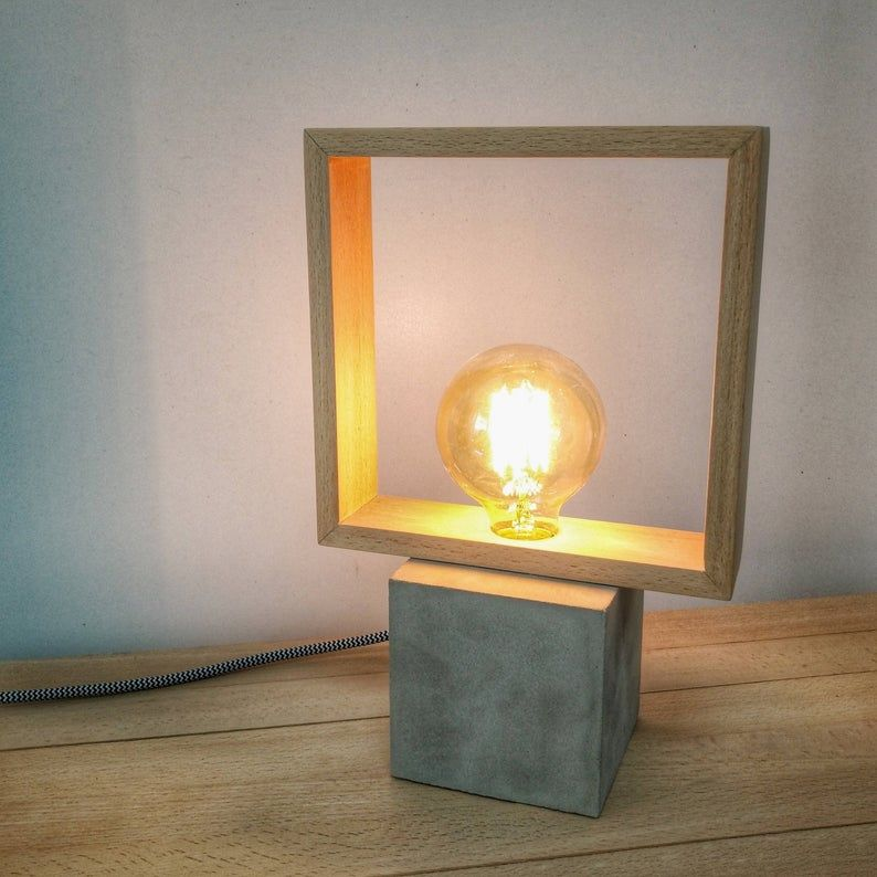 Square Edison lamp wood, Modern concrete wood table lamp