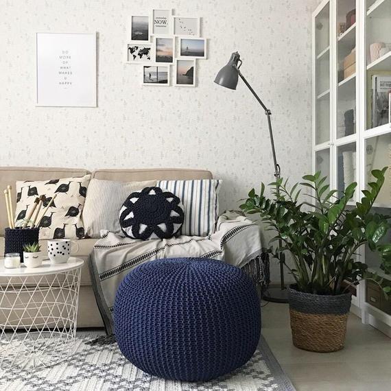 Phenomenal Crochet Navy Blue Poufs Knitted Pouf And Ottoman Pouffe Customarchery Wood Chair Design Ideas Customarcherynet