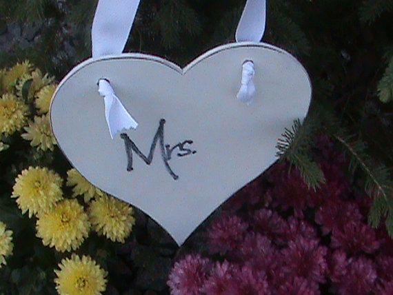 TWO Medium Size Mr and Mrs Hearts Prop Sign Weddings by belou492, $14.00