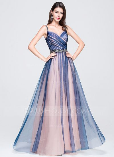 1c31f672f Corte A Princesa Escote corazón Hasta el suelo Tul Vestido de baile de promoción  con Volantes Bordado Lentejuelas (018070395)