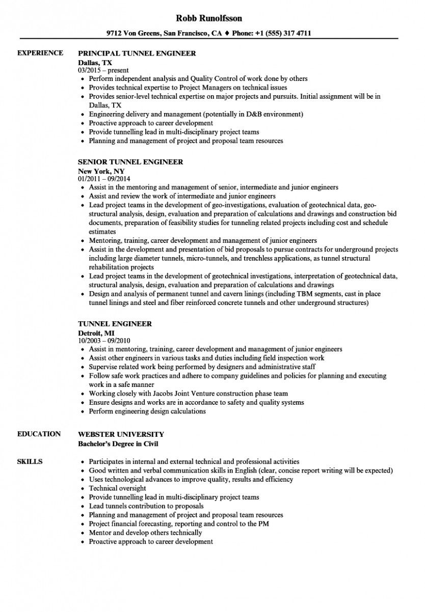 14 Underground Mining Engineer Resume Pattern