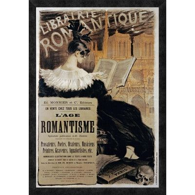 "Global Gallery 'Librairie Romantique' by Eugene Grasset Framed Vintage Advertisement Size: 38"" H x 26.59"" W x 1.5"" D"