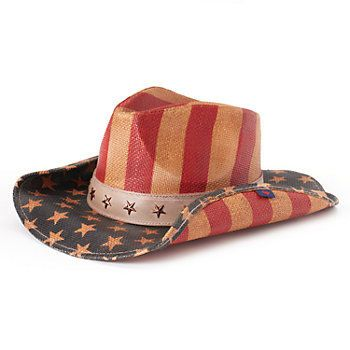 Women S Peter Grimm Justice Distressed American Flag Cowboy Hat Kohls Cowboy Hats Womens Straw Cowboy Hat American Flag Hat
