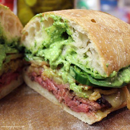 Steak Sandwich with Arugula-Spinach Pesto Mayo